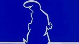 animowany ludzik narysowany białą kreską